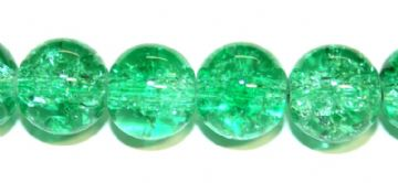 85pcs x 10mm Green pink glass crackled beads -- 3005045